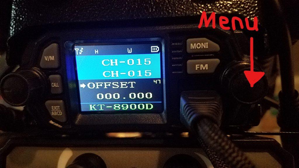 The COM radio menu