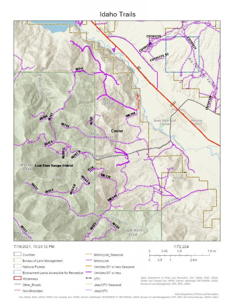 Mackay Idaho trail map